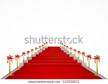Red carpet and stairs for VIP persons. Vector - stock photo