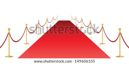 Red carpet and stanchion isolated on white