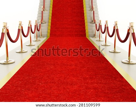 Red carpet and velvet ropes leading to a staircase - stock photo