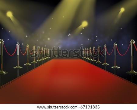 Red carpet at night. - stock photo