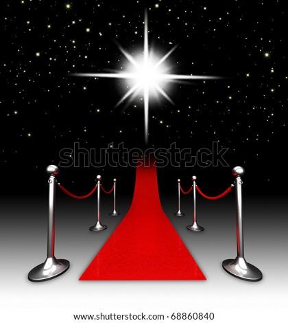 Red carpet at night. - stock photo