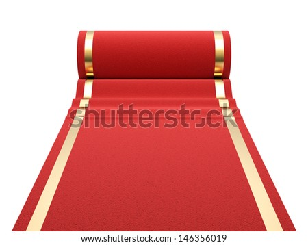 Red carpet at white background. 3d render illustration - stock photo