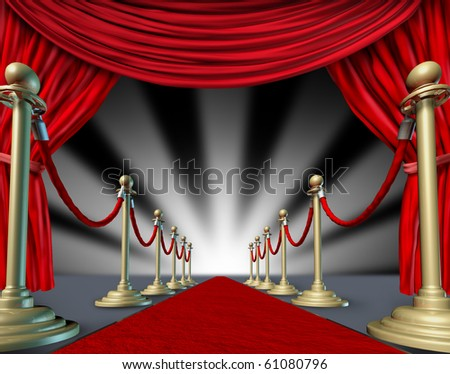 Red carpet curtains Hollywood premier grand opening movie star - stock photo