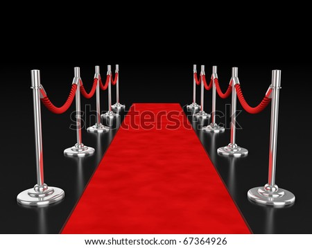 red carpet 3d illustration over dark background - stock photo