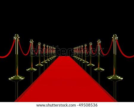 Red carpet. 3D image. - stock photo