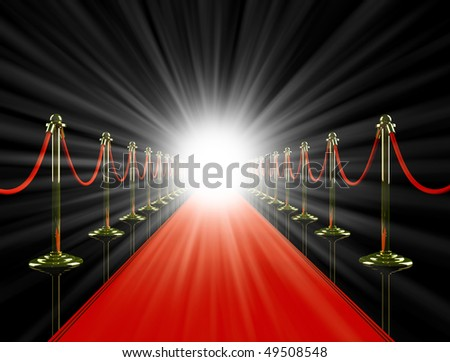 Red carpet. 3D image. - stock photo