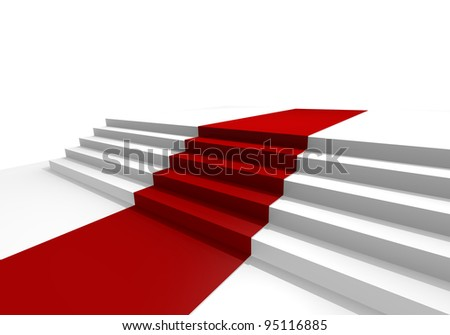 Red carpet, 3d image - stock photo