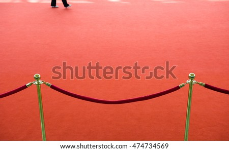 red carpet entrance with the stanchions and the ropes.