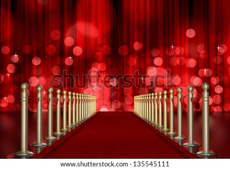 red carpet entrance with the stanchions and the ropes. red Light Burst over curtain - stock photo