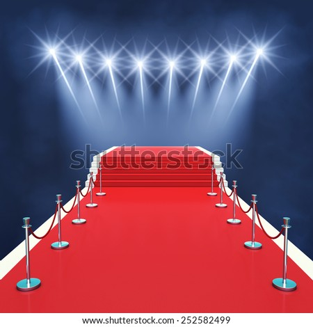 Red carpet event with spotlights , Award ceremony , Premiere - stock photo