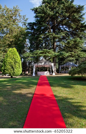 Red carpet for an outdoor wedding