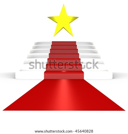 Red carpet for the stars - a 3d image - stock photo