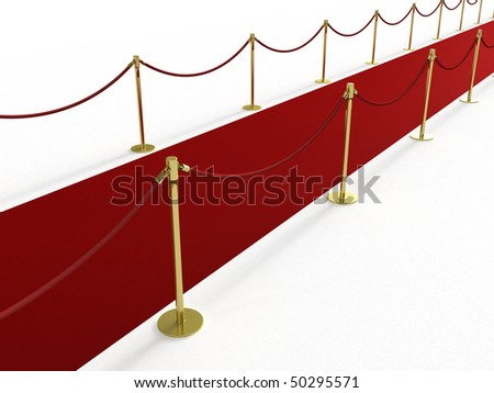 Red carpet from the side - stock photo