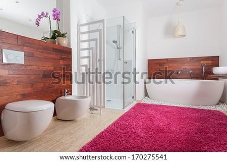 Red carpet in bright spacious bathroom - stock photo