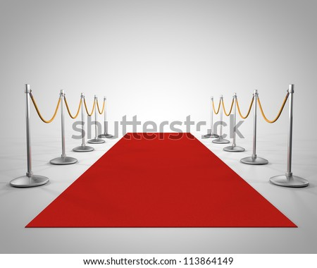 red carpet in studio - stock photo