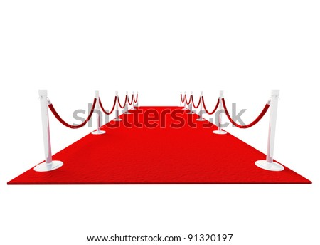 Red Carpet isolated on white background 3D model - stock photo