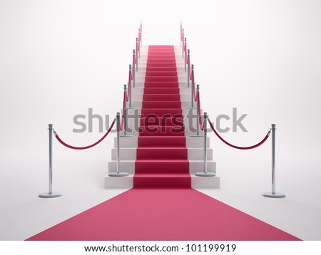 Red carpet leading up the staircase - stock photo