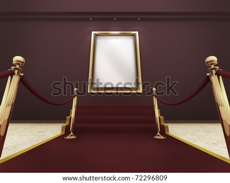 Red carpet leading up to the stairs to a golden picture frame on a wall. (A clipping path for the white content area is included for placing your own content.) - stock photo