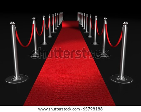 Red carpet night conept with fence 3d illustration - stock photo