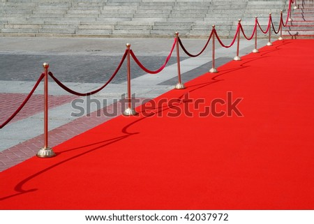 red carpet on a square - stock photo