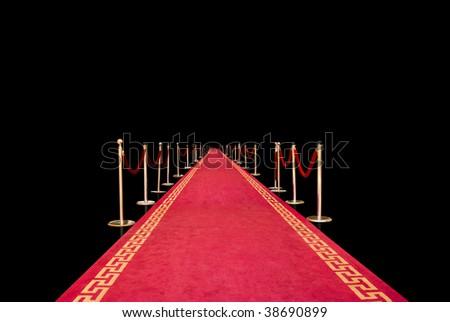 Red carpet on black background - stock photo