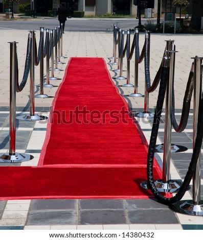 Red carpet on street - stock photo