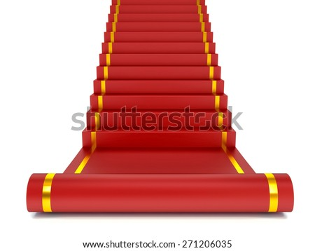 Red carpet on the success ladder. Concept. 3d illustration - stock photo