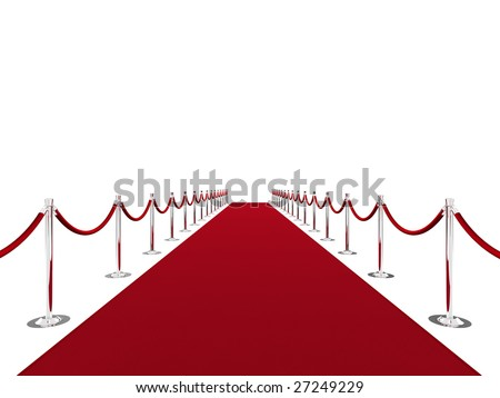 Red carpet on white background - stock photo