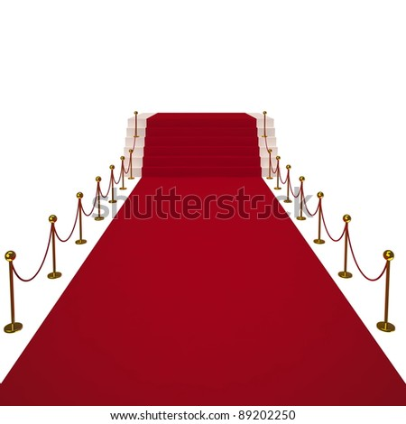 Red carpet on white background. Isolated 3D image - stock photo