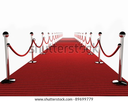 Red Carpet over white Background