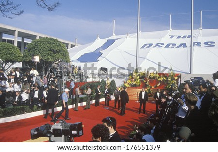 Red Carpet Preparations for 62nd Annual Academy Awards, Los Angeles, California - stock photo
