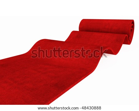 red carpet rolling on white plane 3d image success background - stock photo