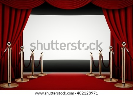 Red carpet to a movie premiere event - stock photo