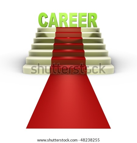 Red carpet to a successful career - a 3d image - stock photo