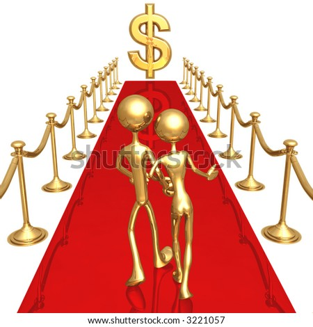 Red Carpet To Success Dollar - stock photo