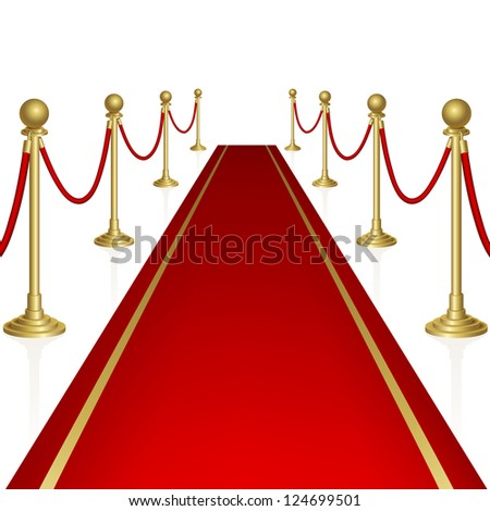 Red carpet with guard.