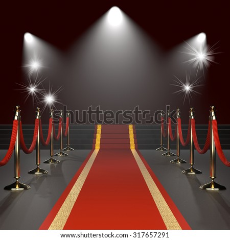 Red carpet with red ropes on golden stanchions. Exclusive event, movie premiere, gala, ceremony concept. Black background with lights. Blank template illustration with space for an object, logo, text. - stock photo