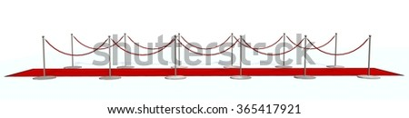 red carpet with silver stanchions isolated on white  - stock photo