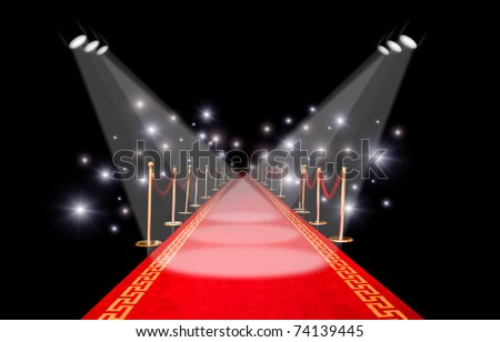 Red carpet with spotlight and flash - stock photo