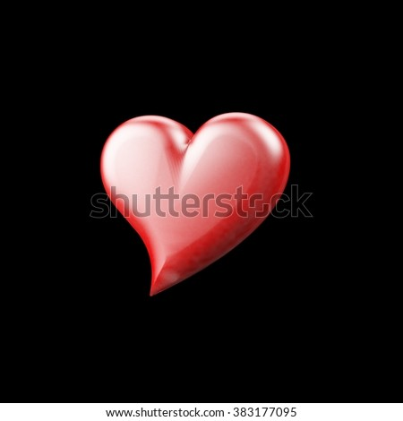Red cartoon-like heart isolated on black