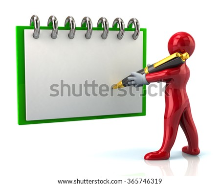 Red cartoon man writing with in notebook on white background - stock photo