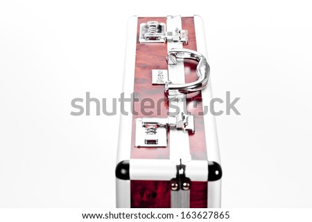 Red case whit lock on white background - stock photo
