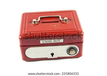 Red cash box on white background.