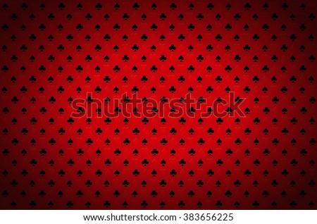 Red casino background. Playing, poker, blackjack, cards symbol. - stock photo