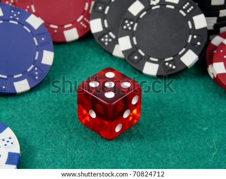 Red casino dice number five