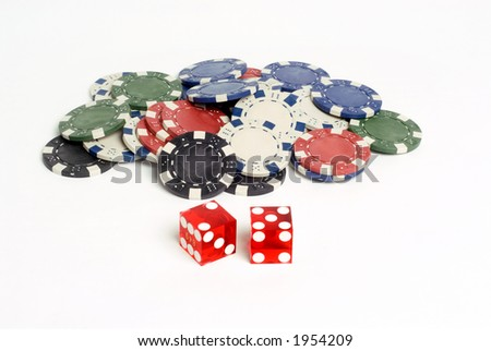Red Casino Dice with Lucky 7 and chips