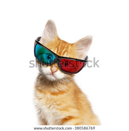 Red cat with 3d glasses, isolated on white background - stock photo