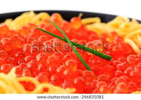 "Red Caviar donburi ; Japanese food "" Ikura don"" - stock photo"
