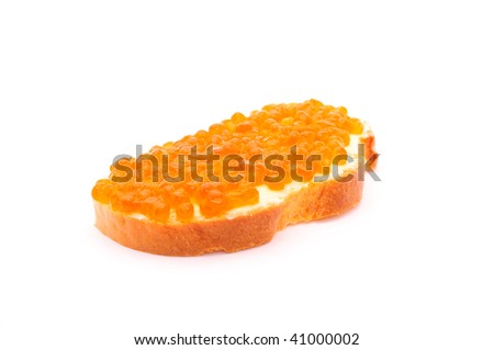 Red caviar with bread and butter isolated over white background
