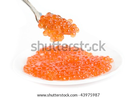 red caviar with spoon on a white background
